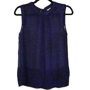 Rebecca Taylor Silk Semi Sheer Sleeveless Blouse